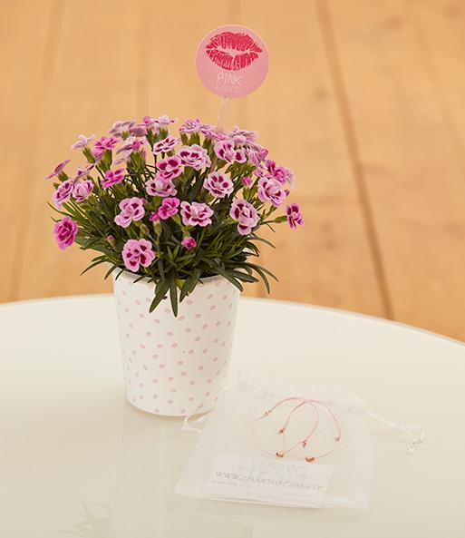 Mit dem Friendset verbundene Herzen mit Mininelke Pink Kisses® und Freundschaftsarmbändchen machst du deiner besten Freundin, deiner BFF oder deiner Mutter ein super süßes Geschenk und zeigst ihr, wie wichtig sie dir ist!
