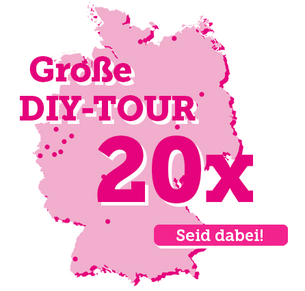 """Deutschlandkarte mit Text: Große DIY-Tour, 20x Und """"Call to Action""""-Button """"Seid dabei!"""""""