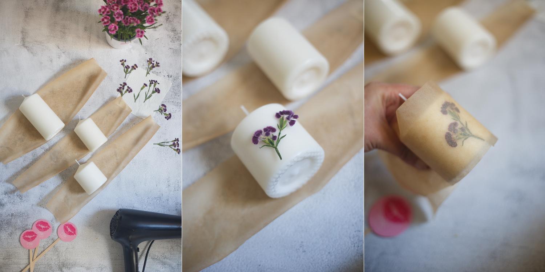 3 Bilder als Anleitung dazu wie die getrockneten Pink-Kisses-Blüten mit Backpapier und einem Fön an der Kerze angebracht werden