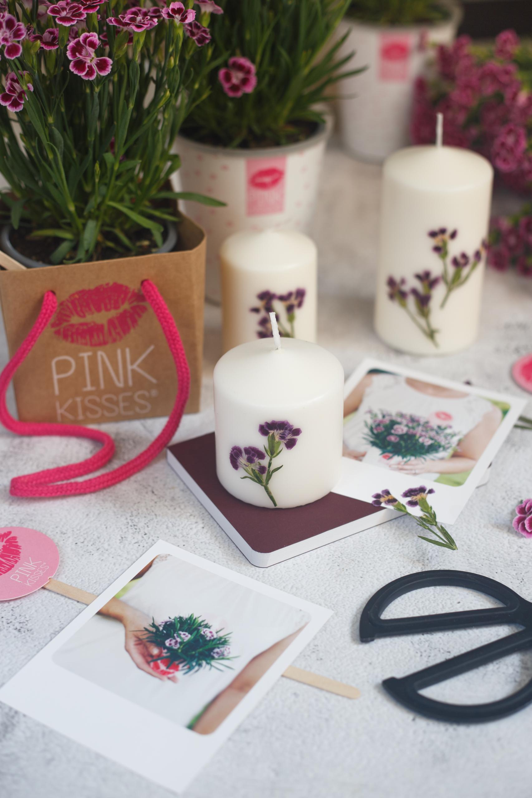 Eine Oberfläche mit Pink Kisses und DIY Kerzen mit gepressten Pink-Kisses-Blüten
