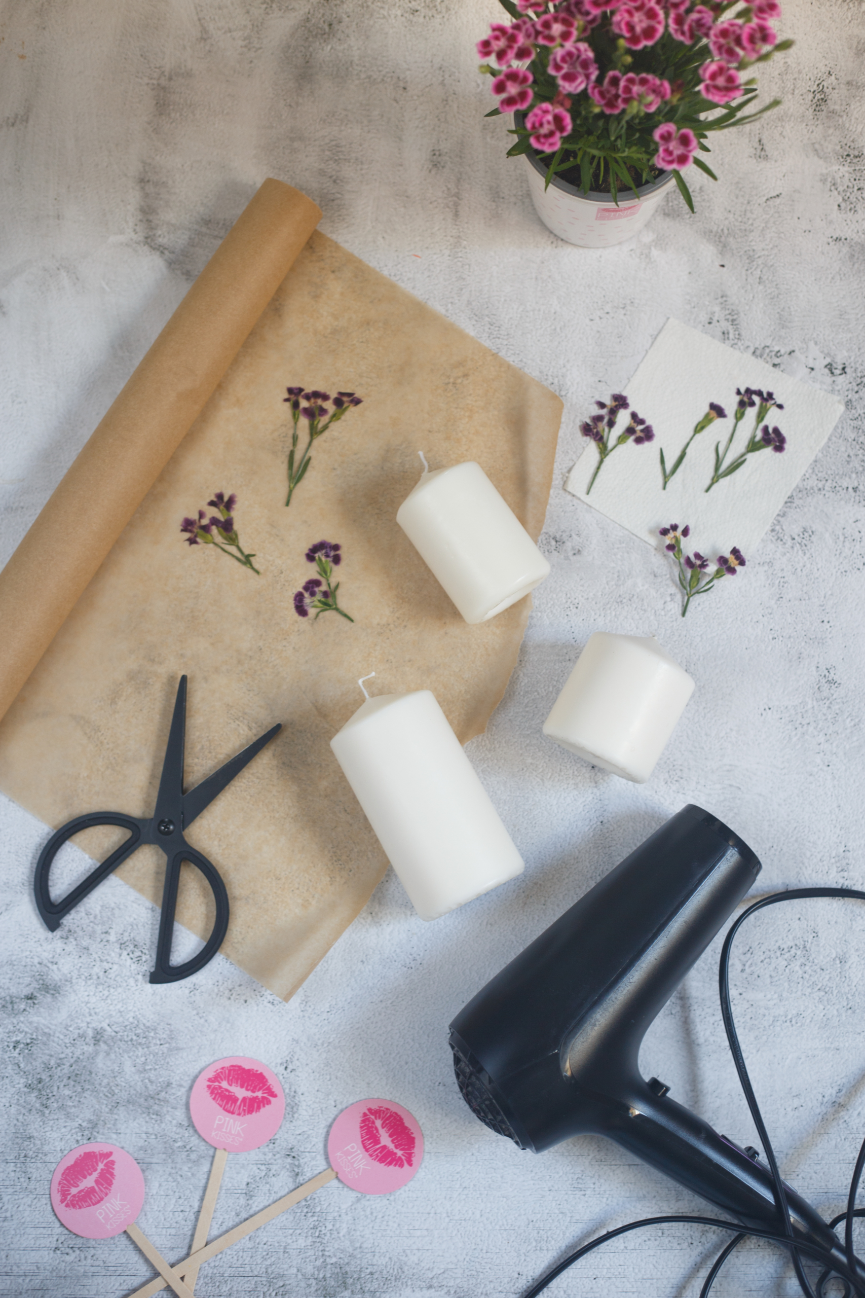 Pink Kisses, getrocknete Pink-Kisses-Blüten, Backpapier, eine Schere, Kerzen, ein Fön und Blumenstecker von Pink Kisses